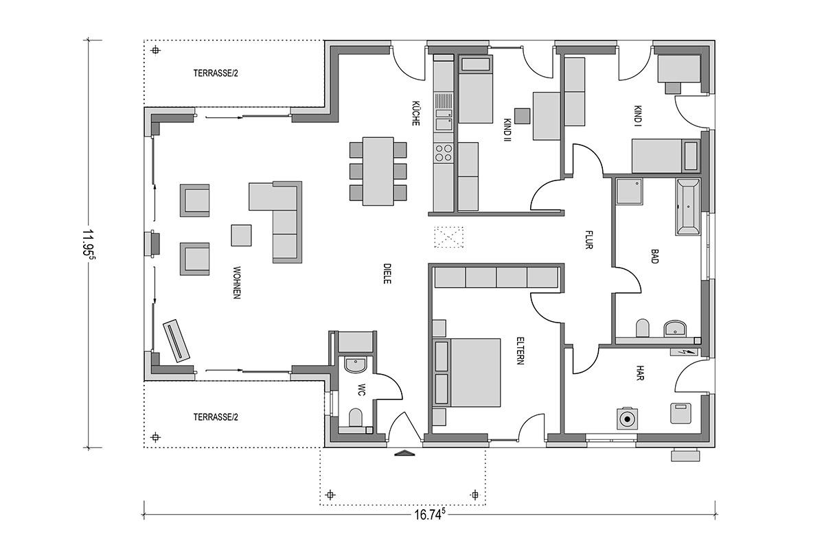 bungalow grundriss offene k che kleine maden k che wasserhahn austauschen buche dunkle. Black Bedroom Furniture Sets. Home Design Ideas